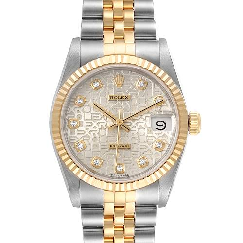 Photo of Rolex Datejust Midsize 31 Steel Yellow Gold Diamond Ladies Watch 68273 Box Paper