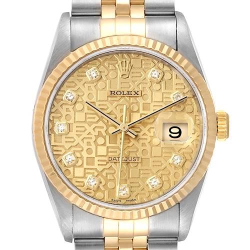 Photo of Rolex Datejust Steel Yellow Gold Jubilee Diamond Dial Mens Watch 16233
