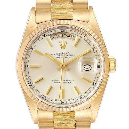 Photo of Rolex President Day-Date 36 Yellow Gold Bark Finish Mens Watch 18078 Box