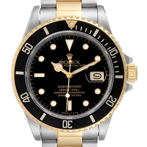 Photo of Rolex Submariner Steel 18K Yellow Gold Black Dial Mens Watch 16803 Box