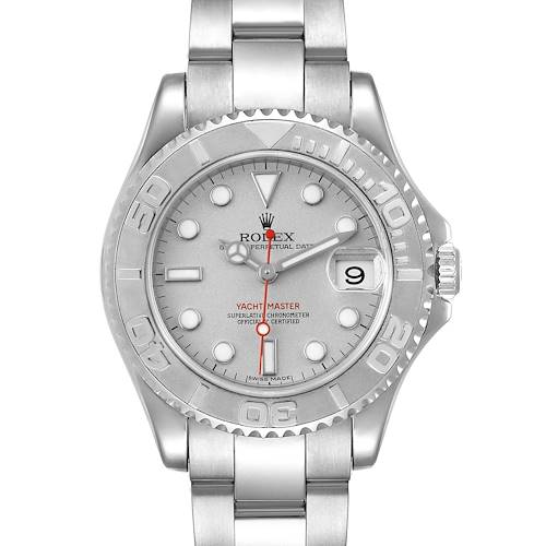 Photo of Rolex Yachtmaster 35mm Midsize Steel Platinum Mens Watch 168622 Box Card