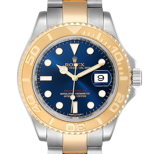 Photo of Rolex Yachtmaster 40mm Steel Yellow Gold Blue Dial Mens Watch 16623 Box Papers
