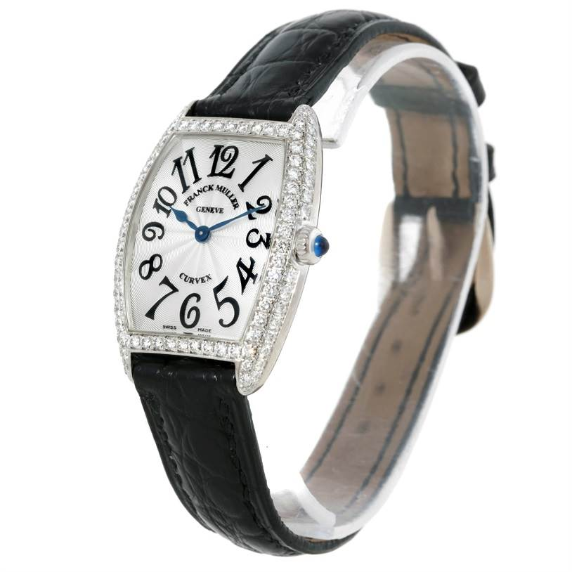 Franck Muller Cintree Curvex 18K White Gold Diamond Watch 1752 SwissWatchExpo