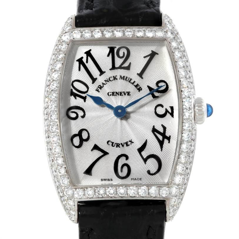 9094 Franck Muller Cintree Curvex 18K White Gold Diamond Watch 1752 SwissWatchExpo