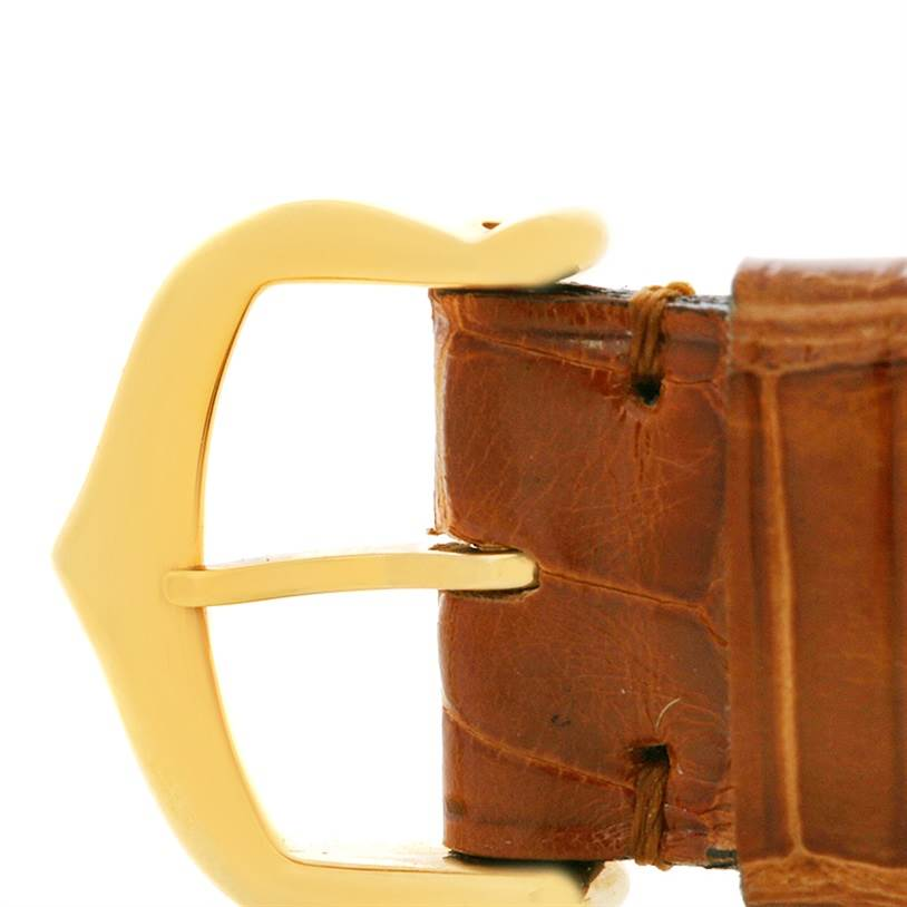 2485 Cartier Tank Obus 18k Yellow Gold Brown Strap Watch W1512256 SwissWatchExpo