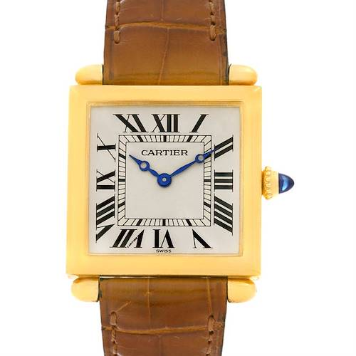 Photo of Cartier Tank Obus 18k Yellow Gold Brown Strap Watch W1512256