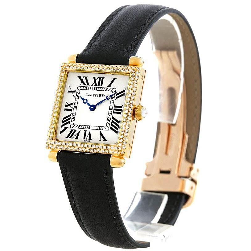 6228 Cartier Tank Obus 18k Yellow Gold Diamond Watch W1512256 SwissWatchExpo