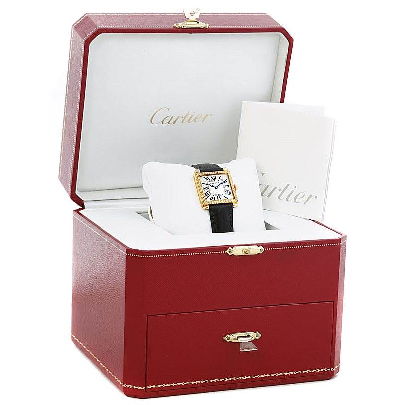 6228 Cartier Tank Obus 18k Yellow Gold Diamond Watch W1512256 SwissWatchExpo