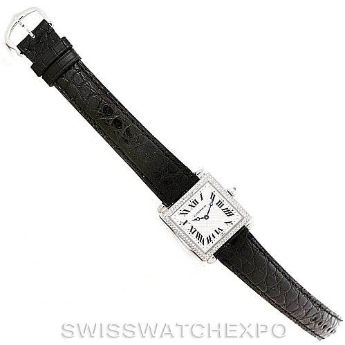 7640 Cartier Tank Obus 18k White Gold Diamond Watch SwissWatchExpo