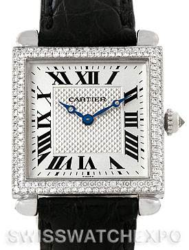 7640 Cartier Tank Obus 18k White Gold Diamond Watch SwissWatchExpo