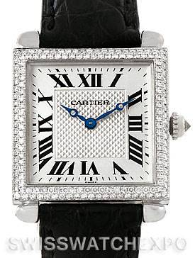 Photo of Cartier Tank Obus 18k White Gold Diamond Watch