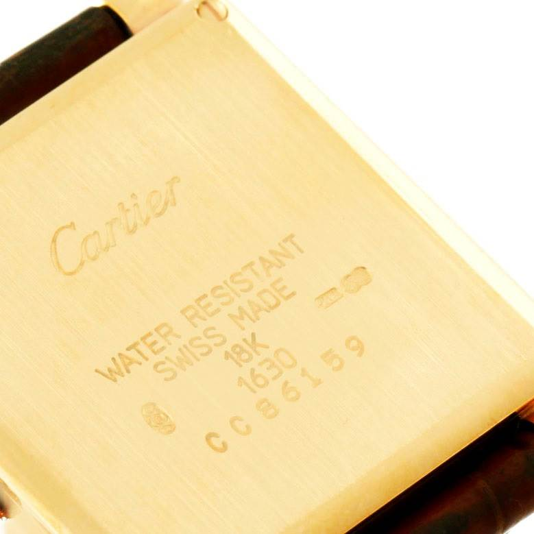 7479 Cartier Tank Obus 18k Yellow Gold Brown Strap Quartz Watch SwissWatchExpo