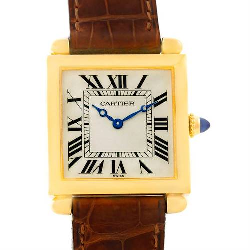Photo of Cartier Tank Obus 18k Yellow Gold Brown Strap Quartz Watch