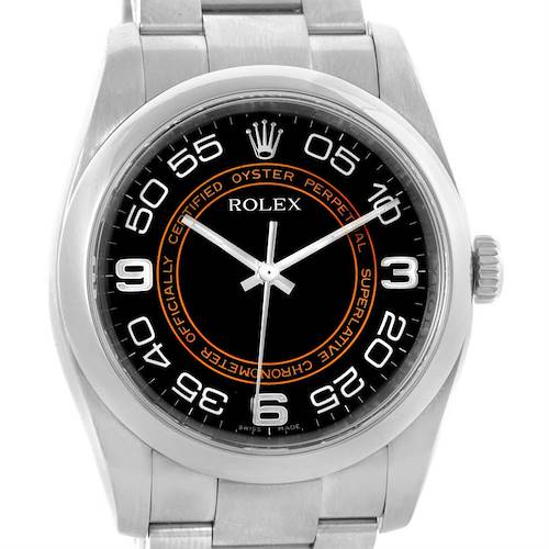 Photo of Rolex No Date Mens Black Brown Concentric Dial Steel Watch 116000