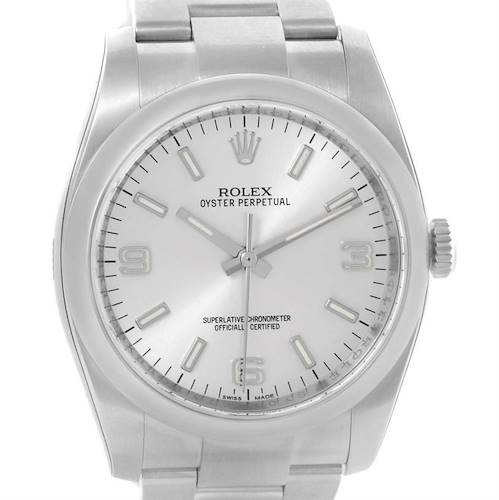 Photo of Rolex No Date Mens Silver Dial Stainless Steel Watch 116000 Unworn