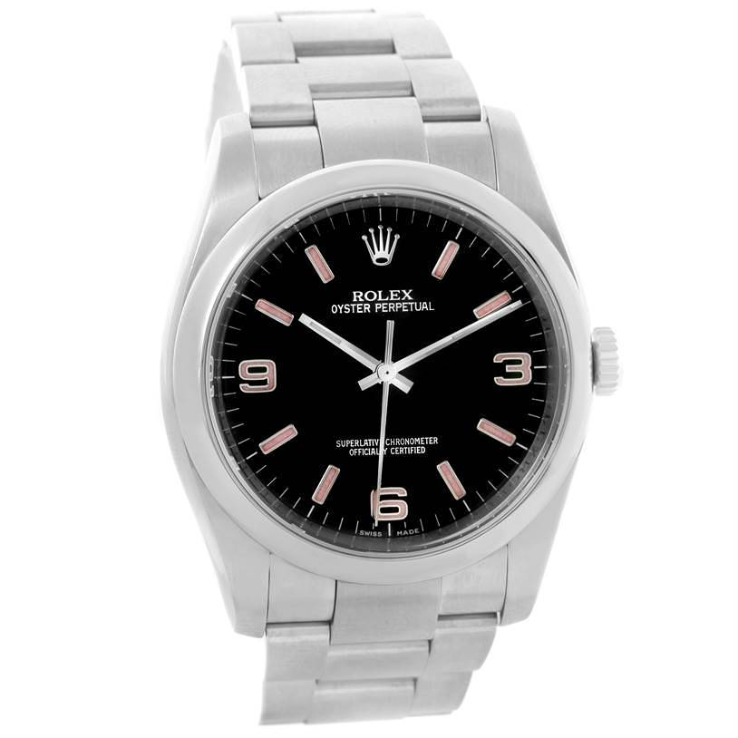 Rolex No Date Mens Black Dial Stainless Steel Watch 116000 SwissWatchExpo