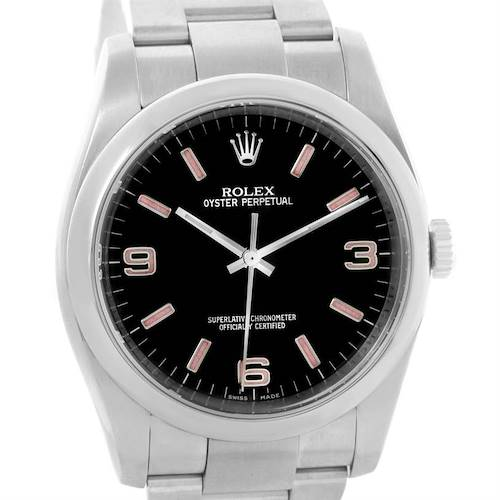 Photo of Rolex No Date Mens Black Dial Stainless Steel Watch 116000
