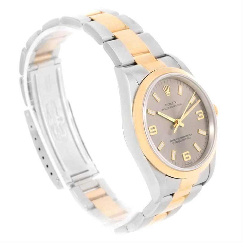 Rolex No Date Mens Steel 18k Yellow Gold Slate Dial Watch 14203 SwissWatchExpo