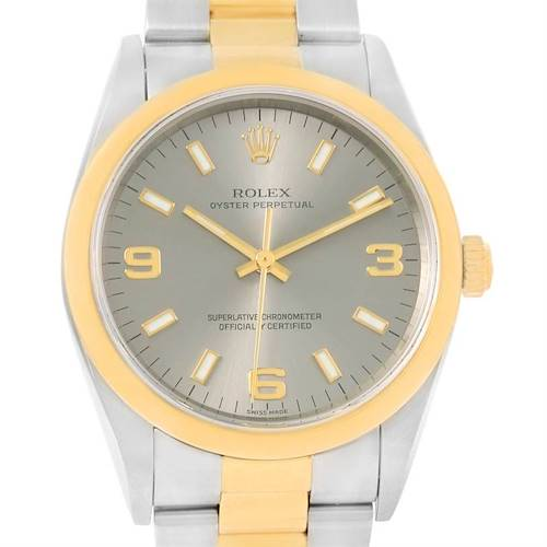 Photo of Rolex No Date Mens Steel 18k Yellow Gold Slate Dial Watch 14203