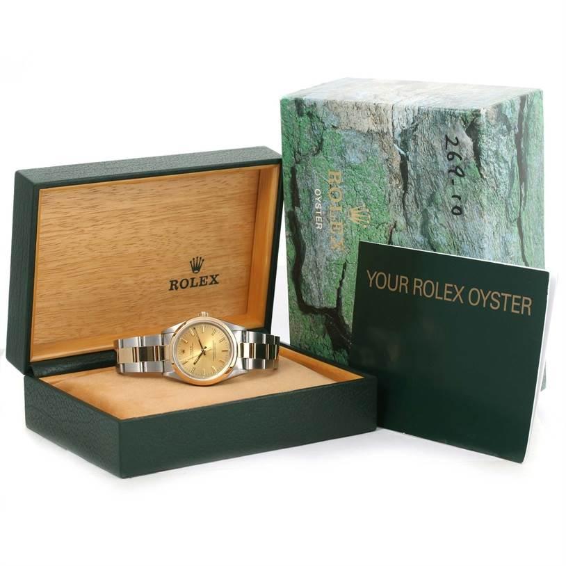 Rolex No Date Mens Stainless Steel 18k Yellow Gold Watch 14203 SwissWatchExpo