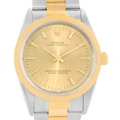 Photo of Rolex No Date Mens Stainless Steel 18k Yellow Gold Watch 14203