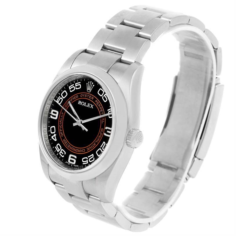 Rolex NoDate Black Orange Concentric Dial Steel Watch 116000 Box Papers SwissWatchExpo