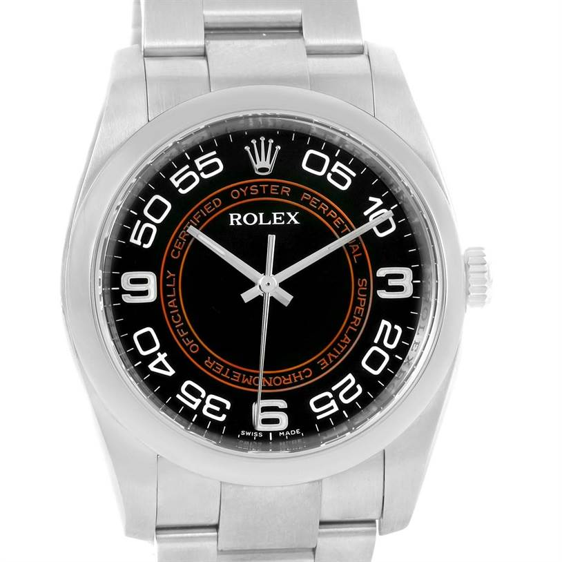 12911 Rolex NoDate Black Orange Concentric Dial Steel Watch 116000 Box Papers SwissWatchExpo