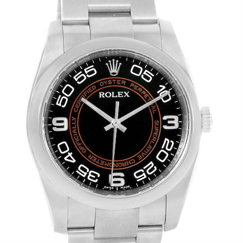 Photo of Rolex NoDate Black Orange Concentric Dial Steel Watch 116000 Box Papers