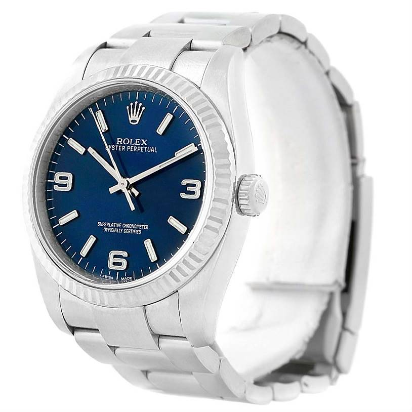 Rolex No Date Mens Steel 18K White Gold Blue Dial Watch 116034 SwissWatchExpo