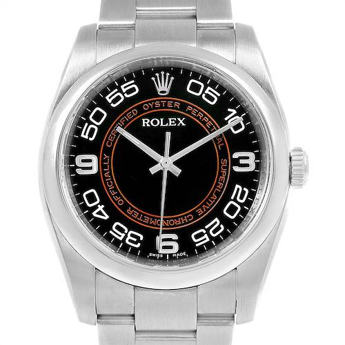 Photo of Rolex Non Date Black Dial Smooth Bezel Steel Watch 116000 Unworn