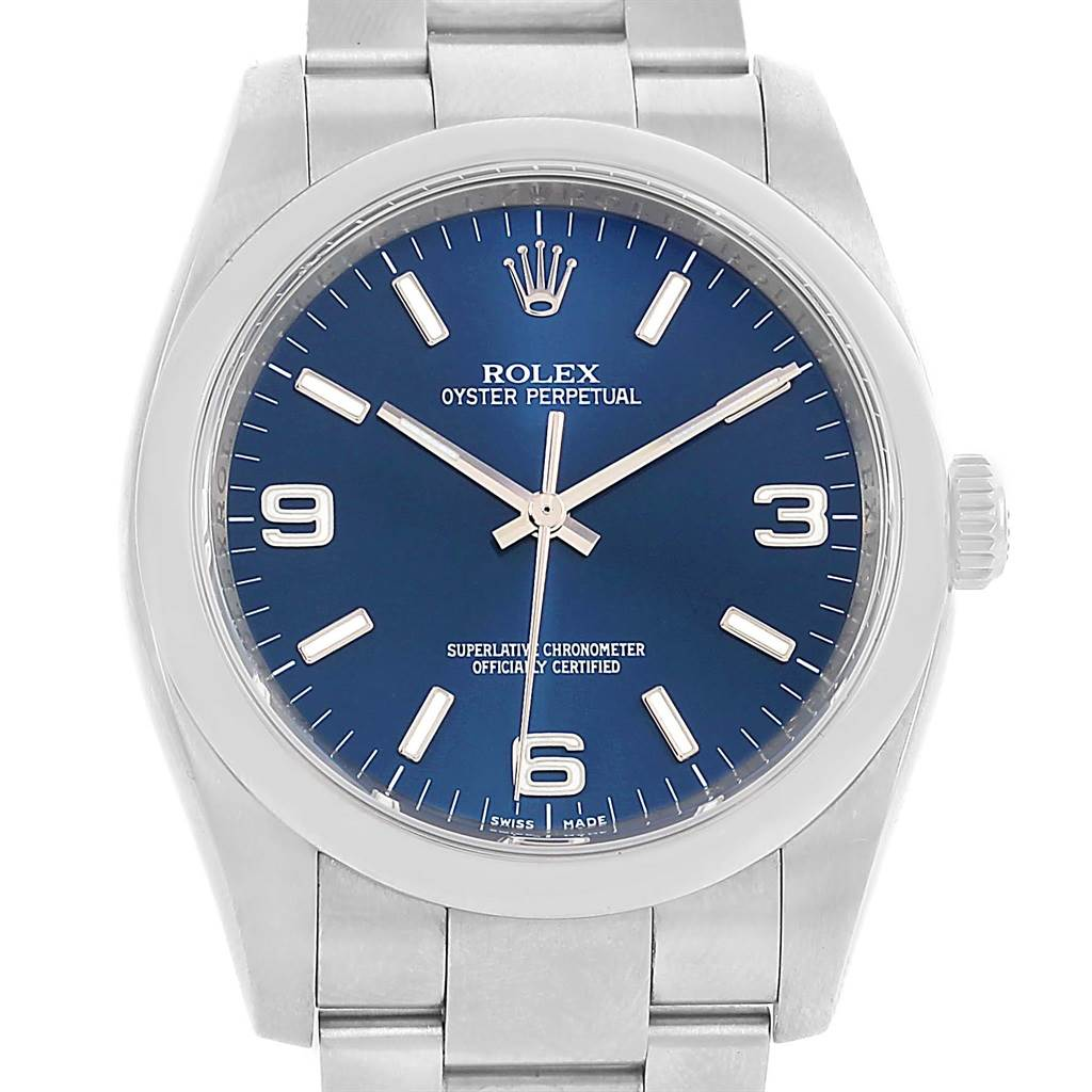 Rolex No Date Mens Blue Dial Stainless Steel Watch 116000 Box Papers