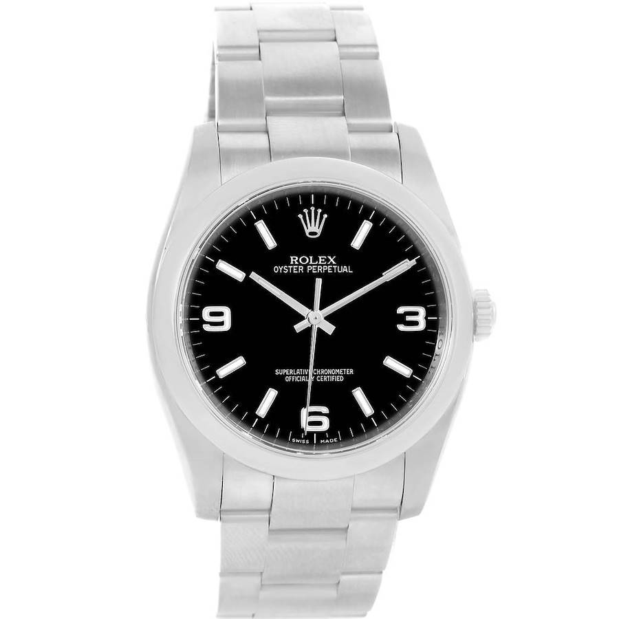 Rolex No Date Black Dial Stainless Steel Mens Watch 116000 SwissWatchExpo