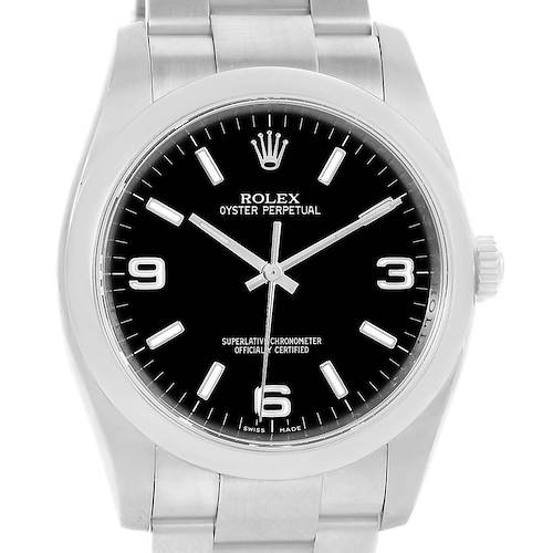 Photo of Rolex No Date Black Dial Stainless Steel Mens Watch 116000