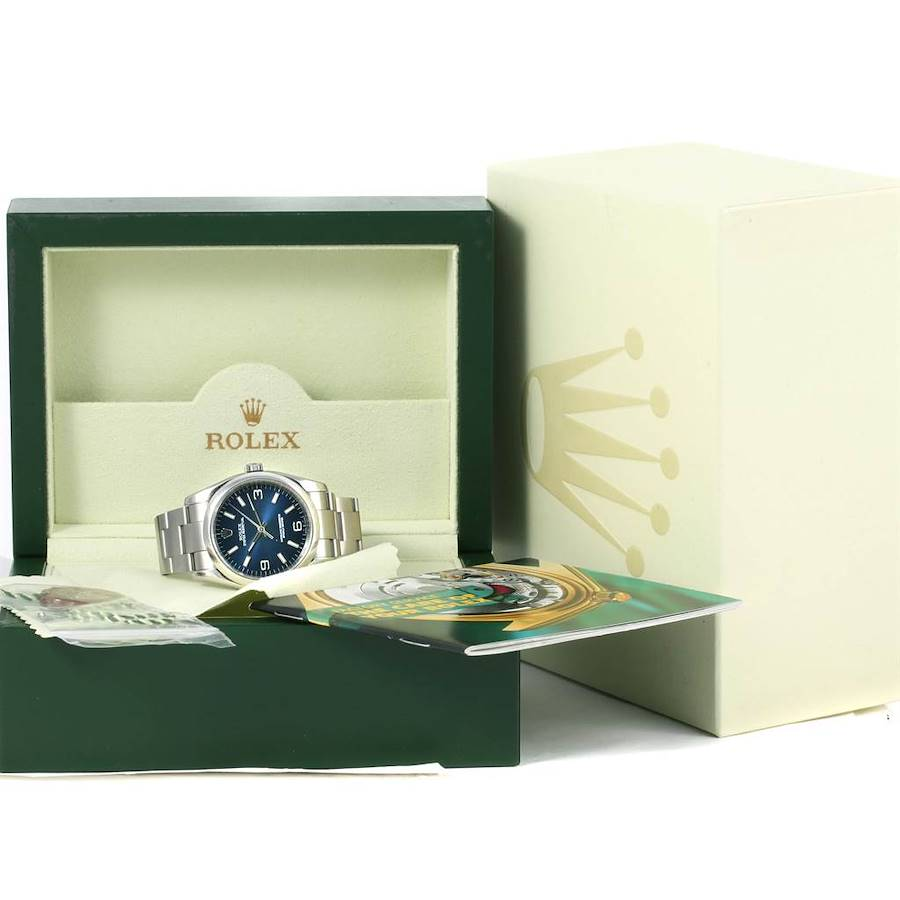 Rolex No Date Mens Blue Dial Stainless Steel Mens Watch 116000 SwissWatchExpo