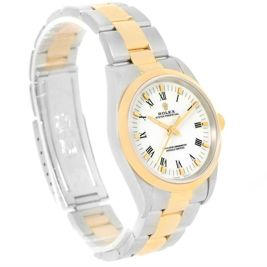 Rolex No Date Mens Stainless Steel Yellow Gold White Dial Watch 14203 SwissWatchExpo
