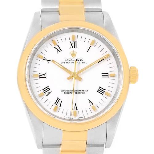 Photo of Rolex No Date Mens Stainless Steel Yellow Gold White Dial Watch 14203