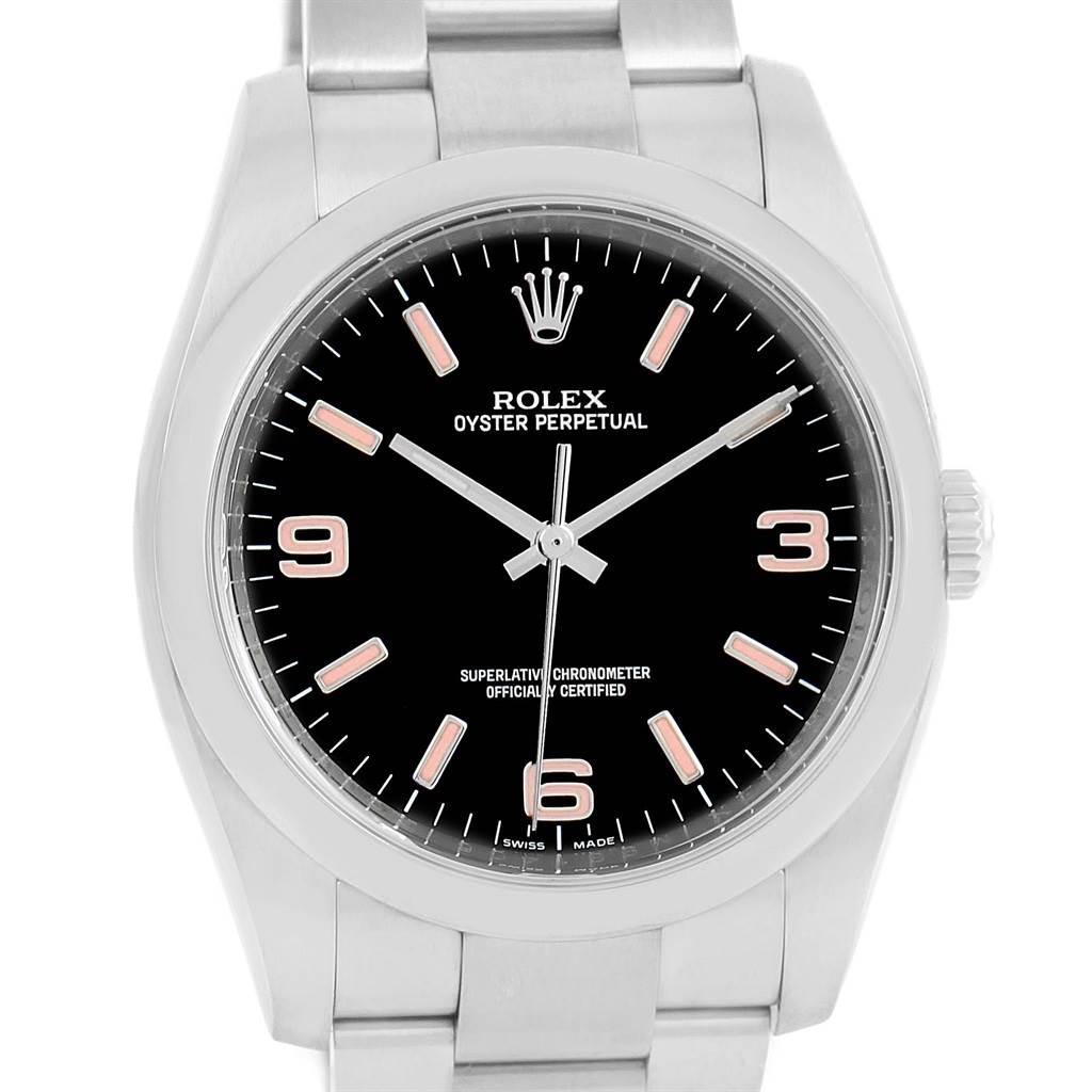 14024 Rolex No Date Mens Black Dial Pink Hour Markers Steel Watch 116000 SwissWatchExpo