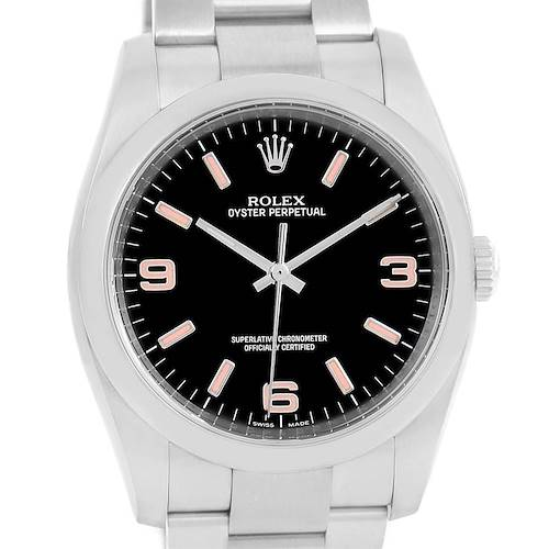 Photo of Rolex No Date Mens Black Dial Pink Hour Markers Steel Watch 116000