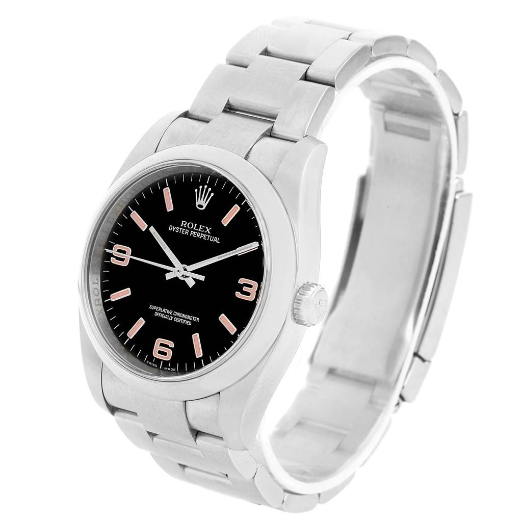 13988 Rolex Oyster Perpetual 36 Black Dial Pink Hour Markers Watch 116000 SwissWatchExpo