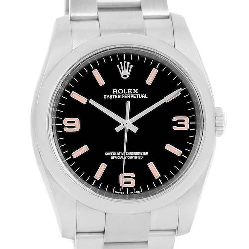 Photo of Rolex Oyster Perpetual 36 Black Dial Pink Hour Markers Watch 116000