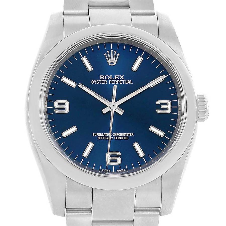 Rolex No Date Blue Dial Domed Bezel Mens Watch 116000 Box Papers SwissWatchExpo