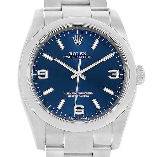 Photo of Rolex No Date Blue Dial Domed Bezel Mens Watch 116000 Box Papers