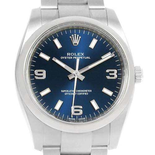 Photo of Rolex Oyster Perpetual Blue Dial Oyster Bracelet Mens Watch 114200 Box Papers