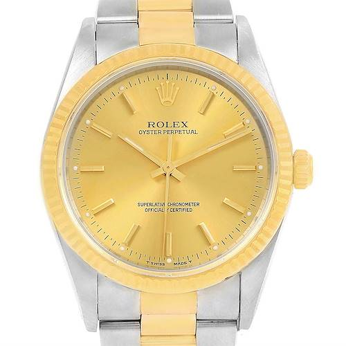 Photo of Rolex Non Date Steel 18k Yellow Gold Mens Watch 14233 Box Papers