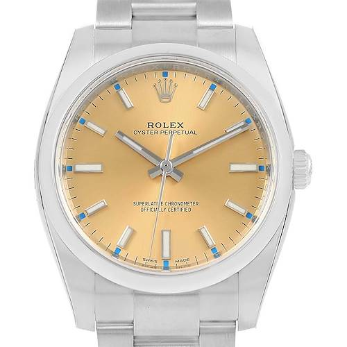 Photo of Rolex Oyster Perpetual Champagne Dial Steel Unisex Watch 114200 Unworn