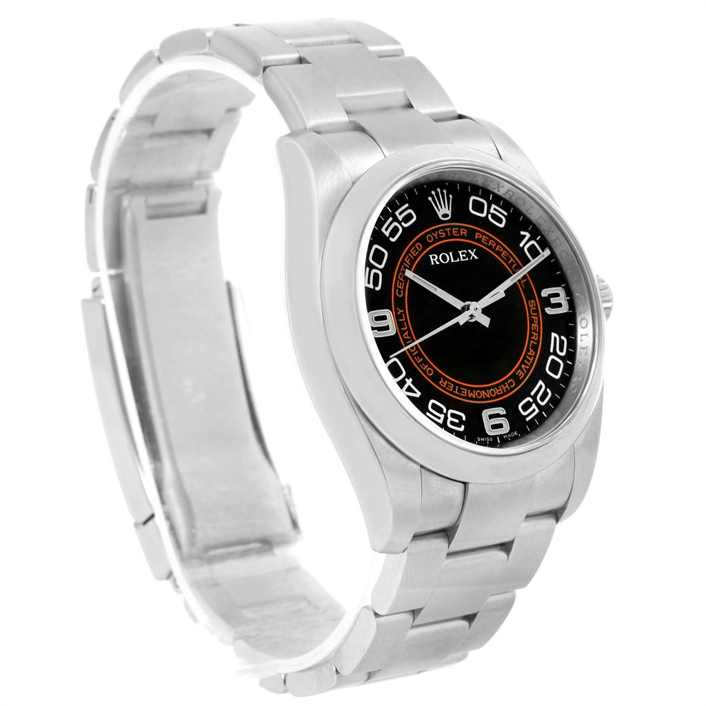 15612 Rolex Oyster Perpetual Non Date Black Dial Steel Mens Watch 116000 SwissWatchExpo