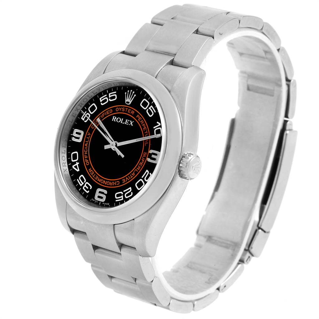 15612 Rolex Oyster Perpetual Non Date Black Dial Steel Unisex Watch 116000 SwissWatchExpo