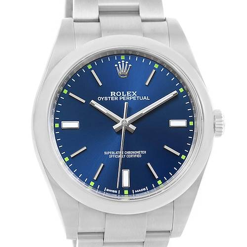 Photo of Rolex Oyster Perpetual 39 Blue Dial Steel Mens Watch 114300 Box Papers