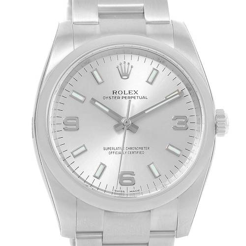 Photo of Rolex Oyster Perpetual Silver Dial Smooth Bezel Watch 114200 Unworn