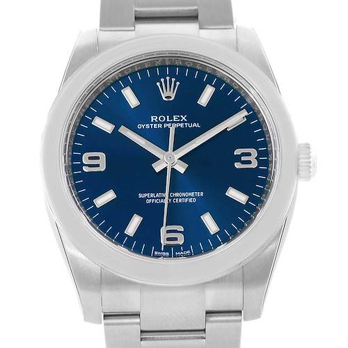 Photo of Rolex Oyster Perpetual Blue Baton Dial Steel Unisex Watch 114200 Unworn